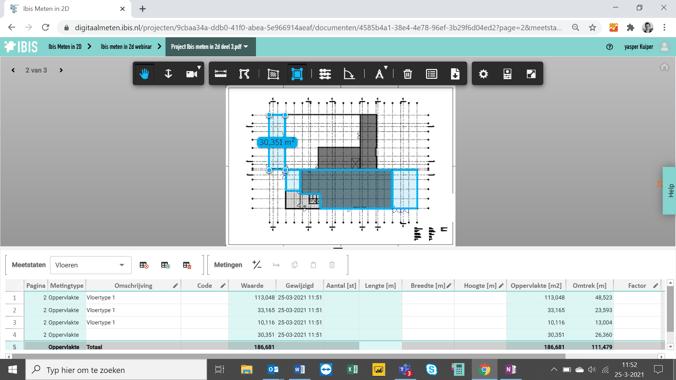 Screenshot Ibis meten in 2D